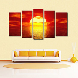 Sunrise Decor NZ - Magnificent Sunrise Scene Canvas Prints Wall Art Stretched and Modern Decor Paintings Giclee Artwork for Living Room and Bedroom