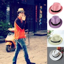White Jazz Hat Canada - New hot New Unisex Women Men Trilby Gangster Summer Beach Sun Straw Panama Jazz Hat shipping