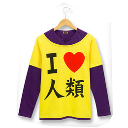 """$enCountryForm.capitalKeyWord Canada - Anime Cosplay No Game No Life Sora """" I Love Human"""" T-shirt Cosplay Costume Special Gift for Halloween Costume for Men Wholesale"""