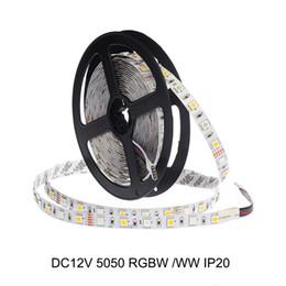 Blanco PCB SMD 5050 RGBW RGB + Blanco cálido / LED blanco Luz de tira IP20 No impermeable CC12V 60led / M 300LEDs 5M / Roll en venta