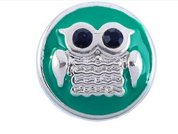 13mm Buttons Canada - DIY snap button noosa chunks green oil inlaid with black rhinestone shaped owl shaped about 4.5mmDIY round personality button 13mm jelwery