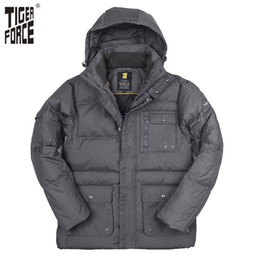 Jacket Tiger NZ - Wholesale- TIGER FORCE 2016 New Design Men White Duck Down Jacket Winter Fashion Down Coat With Hood Solid Zipper Free Shipping D-256B