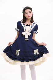 Maillot Costume Pas Cher-Cosplay costume gros-Top Quality Summer Navy Preppy style Sweet Lolita vestimentaire pour les femmes Belle Princesse Pucelle Dress Halloween Alice
