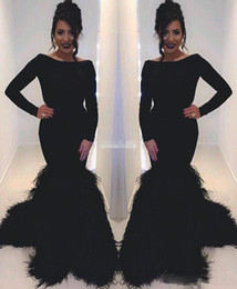 Barato Vestidos De Noite Feitos De Penas-2k17 Black Feather Mermaid Evening Gowns Bateau Long Sleeve Zipper Voltar Vestidos de baile Pavimento Comprimento Cocktail Party Dresses Custom Made