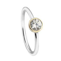 $enCountryForm.capitalKeyWord UK - Silver rings gold plated circle signet S925 fits for pandora style jewelry free shipping H8ale 191043CZ
