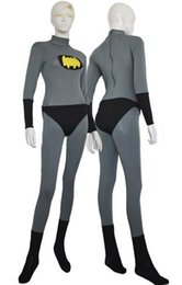 Barato Traje De Spandex Amarelo-Batman traje cinza e Halloween Party Yellow Spandex Lycra Batman Jumpsuit Cosplay Zentai Suit