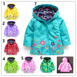 $enCountryForm.capitalKeyWord Canada - Baby Kids Girls flower Raincoat 7 Color Free Kids Fashion Baby Girls Clothes Winter Coat Flower Raincoat Jacket For Windproof Outwear