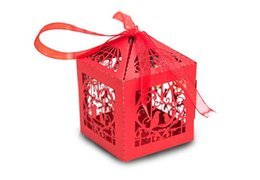 Sky Box Card Canada - 100pcs Chinese red Wedding Candy Box Hot Laser Cut Candy Gift Boxs European creative candy box Hollow cage and joyful box TH15