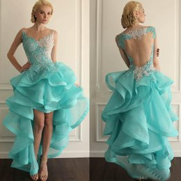 Robe De Bal À La Menthe Pas Cher-Salut Lo Ball Gown Collège Robes Homecoming Mint Organza Verte Illusion Back Short Front Long Back Ruffles Cheap Party Robes de bal