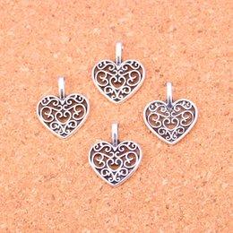 $enCountryForm.capitalKeyWord Canada - 200pcs Antique Silver Plated hollow heart Charms Pendants for European Bracelet Jewelry Making DIY Handmade 16*14mm