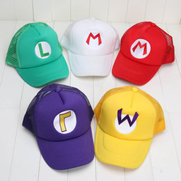 Super Mario Bros Cosplay Costume Pas Cher-5 couleurs Super Mario Bros Costume Cosplay Hat Cap Mario Luigi Wario WaLuigi Mesh Cap Peakcap in opp bag