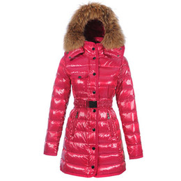 Chinese  High Quality 5 Colors Winter Down Coat Jacket for Women Sashes Long Raccoon Fur Slim Fashion Hooded Clothes Brand Outwear Parkas Hot Sale manufacturers