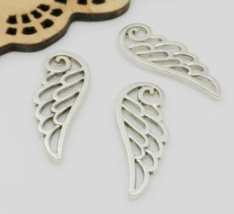 Wings For Making Jewelry Canada - 200pcs Tibetan Silver Angel Wing Charms Pendant For Jewelry Making Bracelet 25x10mm