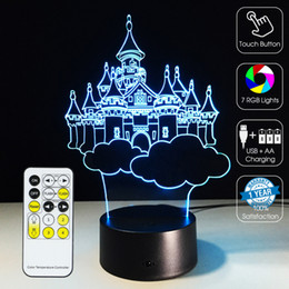Fairy Castles Canada - 2016 Castles 3D Optical Lamp Night Light 7 RGB Lights Dimmable DC 5V AA Battery IR Remote Control Retail Box