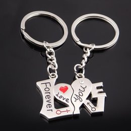 $enCountryForm.capitalKeyWord Canada - Couples Heart Shaped Keychains Footprint Rose Flower Love Keychain Key Ring Metal Zinc Alloy Keyfob Key Chain Gift for Lovers