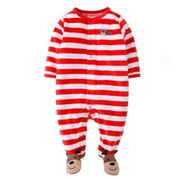 Barato Bebê, Natal, Snowsuit-Unisex Newborn Baby Girls Meninos Natal Longo SLeeve Desenhos animados Red Reindeer Footed Rompers Playsuits Pijamas Jumpsuit