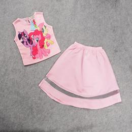 Cartoon Skirt Canada - 2016 New summer Kids fashion Cartoon pony Tee with tutu skirt 2 piece set girls clothes set 20 sets IT1014