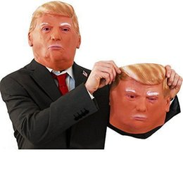 Costumes Donald Pas Cher-Trump Celebrity Latex Mask Masquerade Parties Masques Presidential Donald Latex Masque Visuel pour maquillage Costume de fête de Noël Halloween Hot