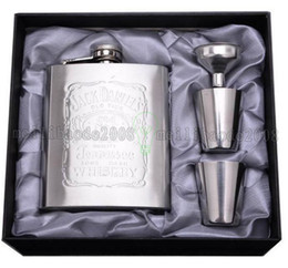 $enCountryForm.capitalKeyWord Australia - 7 oz Stainless Steel Hip Flask Sets jack Flagon With Funnel Cups wine Whisky Hip Flask Portable Flagon bottle Gift Box Packing MYY16