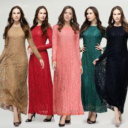 $enCountryForm.capitalKeyWord Canada - Muslim costume ladies long-sleeved whole lace dress dress bride back door elegant pure color tide drag skirt