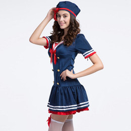 Equipo Marinero Halloween Baratos-Señoras Hola Miss Sailor Sea Fancy Dress Trajes de vestuario Sexy Fashion Role Play Traje de Halloween Cosplay femenino W438049