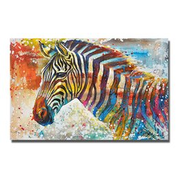 $enCountryForm.capitalKeyWord UK - Free shipping canvas wall art painting hand painted cartoon animal zebra oil painting 3d hanging pictures