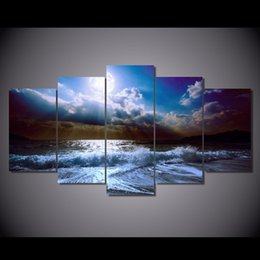 wave art canvas sets Canada - 5 Pcs Set HD Printed moon moonlight night Wave Painting Canvas Print room decor print poster picture canvas abstract modern art