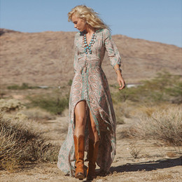 Großhandel Hohe qualität frühling sommer frauen vintage elegante tiefem v-ausschnitt boho split hippie lange maxi dress sexy damen chiffon blumendruck dress