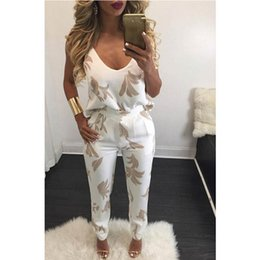 Barato Roupas De Joalheria Grossistas-Macacão sem mangas Romper Harness Two Piece Suit Flower Print Overalls Sexy Summer Beach Shorts Mulheres Bodycon Wholesale