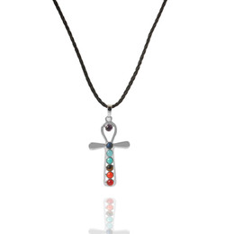 reiki healing wholesalers UK - Seven Beads Natural Quartz Gemstones Stone Pendant Necklace Yoga Energy Healing Point Chakra Reiki Pendent Necklace with 18inch Chain