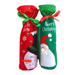 red bow christmas tree ornaments UK - Christmas Ornament, Red Green Christmas Wine Bottle Bag Dinner Party Decoration Bow-Knot Snowman Christmas Tree Santa Claus Bottle Cover Bag