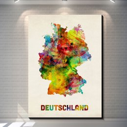 $enCountryForm.capitalKeyWord Canada - Vintage Watercolor map of Germany Pictures Painting Canvas Poster Painting Prints Hotel Bar Garage Living Room Wall Home Art Decor Poster