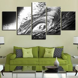 cartoon seascape picture sets NZ - 5 Pcs Set Black And White Sea Waves Beach Seascape Canvas Paintings Home Decor Wall Art Framed Posters HD Prints Pictures Painting