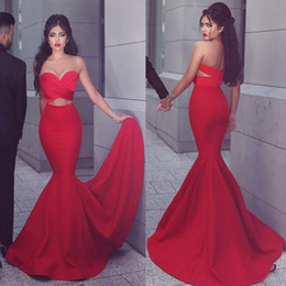 $enCountryForm.capitalKeyWord Canada - Arabic Red Satin Sweetheart Mermaid Evening Dresses 2016 Sexy Cut Away Side Front Long Red Carpet Gowns Custom Made China EN8269