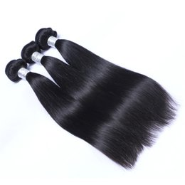 Discount wholesale straight human hair weave - 32inch Brazilian Human Remy Virgin Hair Straight Hair Weaves Hair Extensions Natural Color 100g bundle Double Wefts 3Bun
