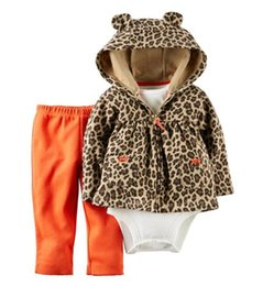 Barato Mamã Do Leopardo Do Bebê Dos Meninos-Baby Girl's Fashion Outfits 2017 Autumn Hooded Coat + Romper + Pants 3PCS Sets Suit Cartoons Leopard Floral Infant Boys Set Sports Baby Clothes