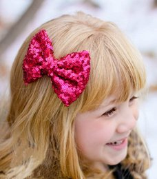 Cute Little Girl Hair Accessories Canada - Sequin Hair Bows Girls Ornaments 10PCS 1 Lot Baby Blingbling Headbands Accessories Girls Cute Flower The Little Baby Headbands Baby Hair