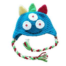 Handmade Kids Summer Hats Australia - Novelty Baby Monster Hat,Handmade Crochet Baby Boy Girl Animal Hat,Kids Earflap Winter Cap,Infant Newborn Photo Prop