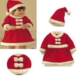 long baby santa hat Australia - New baby newborn boys girls Christmas Santa Claus bebe fleece lining romper + hat suit infant New Year clothes
