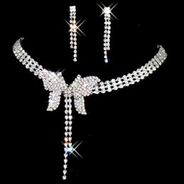 $enCountryForm.capitalKeyWord NZ - Bridal Accessories diamond Crystal butterfly Necklace Earring Accessories Wedding Jewelry Sets Fashion engagement jewelry Hot Sale