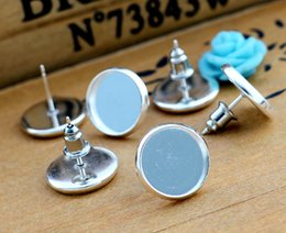 studs 12mm NZ - 12mm 20pcs Silver Plated Earring Studs,Earrings Blank Base,Fit 12mm Glass Cabochons,earring setting;Earring Bezels (L4-01)