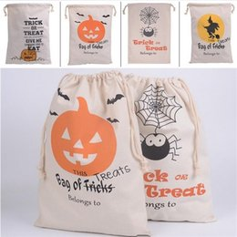 Cloth Pumpkins Canada - New Halloween bags Large Canvas bags cotton Drawstring Bag With Pumpkin, devil, spider, Hallowmas Gifts Sack Bags 6styles 2736 .