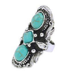 China Wholesale-Cheap Fashion Jewelry Tibetan Silver Plated Unique Shaped Inlay Turquoise Bead Vintage Ring for Women Party cheap inlay banding suppliers