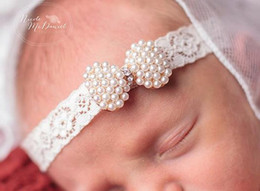 Christening Hair Australia - Wholesale- Baby Princess Lace Rhinestone Headband Newborn Christening Headband baby girl Baptism headband Kids Hair Accessories 1pc