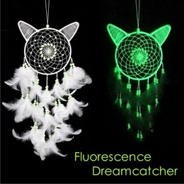 thin fan 2019 - Party Decoration Fluorescence White Cat Handmade Dream catcher Net with Bead Feather Wind Chimes Wall Hanging Decoration