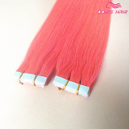 silky hair extensions 2019 - Pink color tape hair extension Europea Tape in Hair Extensions silky straight 20pcs lot colorized Tape in hair extension