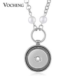 Discount mother pearl round pendant - VOCHENG NOOSA Pearl Necklace Ginger Snaps Jewelry Round Pendant Fit 18mm Button NN-524