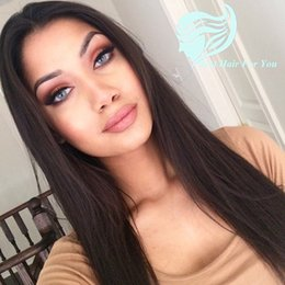 $enCountryForm.capitalKeyWord Canada - Middle Part Silky Straight Lace Front Human Hair Wigs Malaysian Human Hair Glueless Full Lace Long Wigs 130% Density Bleached Knots