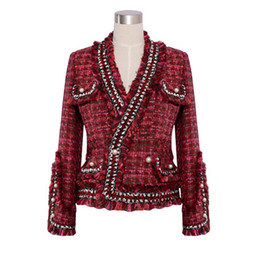 $enCountryForm.capitalKeyWord Canada - Christmas gift for jacket high quality spring autumn   winter jacket coat knitted bordered pearl button small ladies long-sleeve short jacke