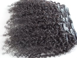 Clip Hair Black Australia - new arrive Mongolian clip in kinky curly hair weft hair human virgin hair extensions unprocessed curly natural black color can be dyed